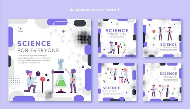 Pacote de posts ig de ciência de design plano