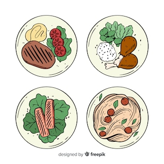 Pacote de pratos de comida de mão desenhada