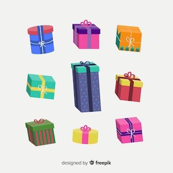 Pacote de presentes coloridos de natal