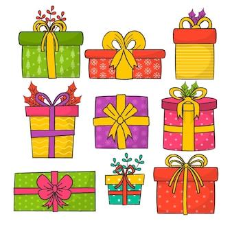 Pacote de presentes de natal desenhados