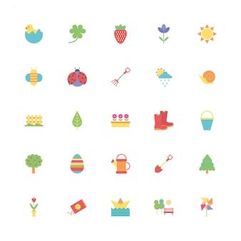 Pacote de primavera conjunto de ícones