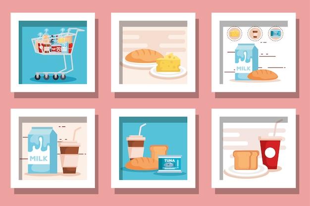 Pacote de produtos de supermercado de design