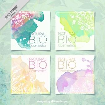 Pacote de produtos naturais aguarela cartões decorativos