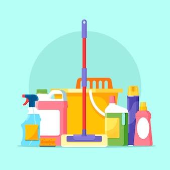 Pacote de produtos para limpeza de superfícies