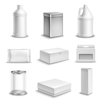 Pacote de produtos realista conjunto de ícones