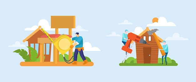 Pacote de profissões domésticas e de renovação