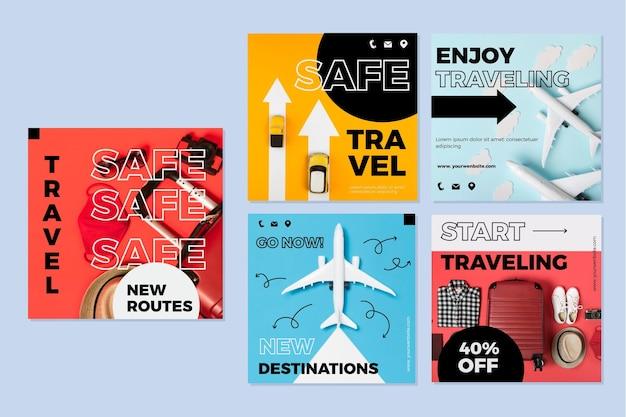 Pacote de publicações do instagram de venda de viagens