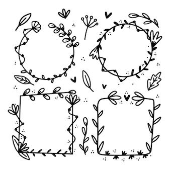 Pacote de quadro floral desenhado à mão Vetor grátis