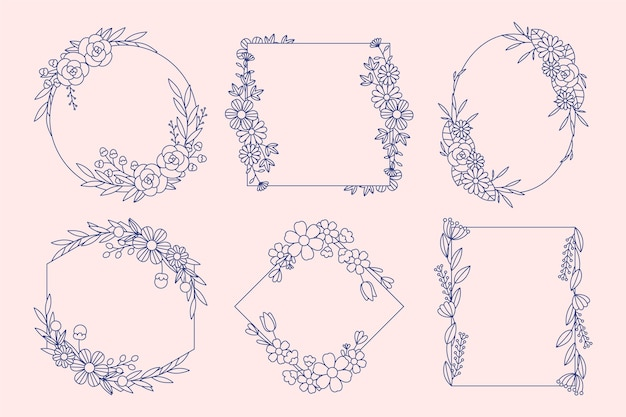 Pacote de quadro floral desenhado à mão