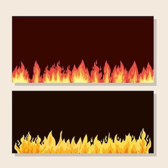 Pacote de quadros com fogos de laranja e amarelo.