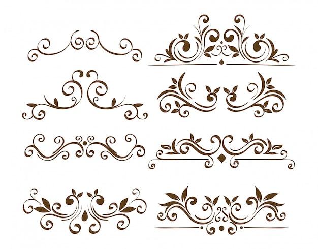 Pacote de quadros de bordas ornamentais elegantes