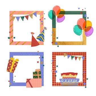 Pacote de quadros de colagem de aniversário desenhados