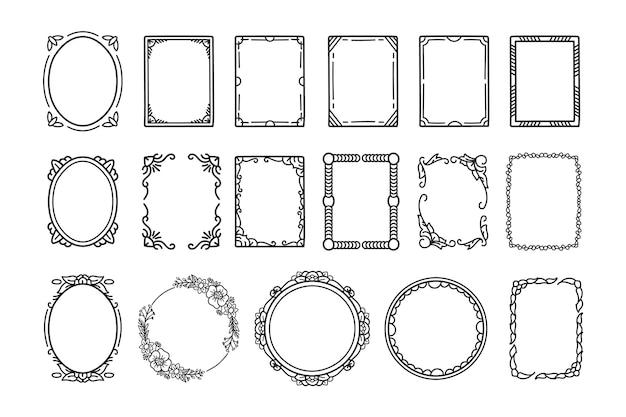 Pacote de quadros de doodle desenhado à mão