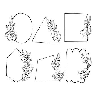 Pacote de quadros florais desenhados à mão