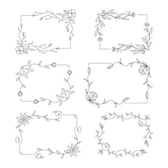 Pacote de quadros florais desenhados Vetor Premium