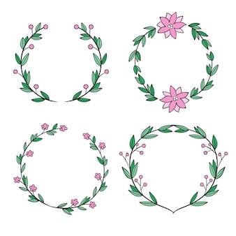 Pacote de quadros florais desenhados
