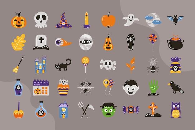 Pacote de quarenta ícones de conjunto de halloween