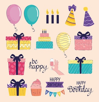 Pacote de quatorze letras de feliz aniversário e ilustração de ícones