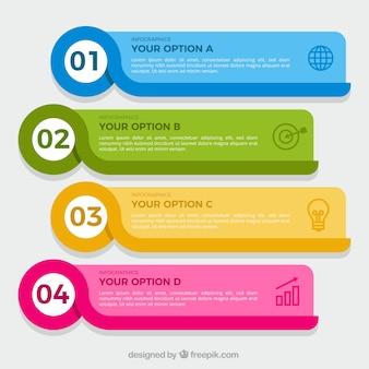 Pacote de quatro bandeiras coloridas infográfico