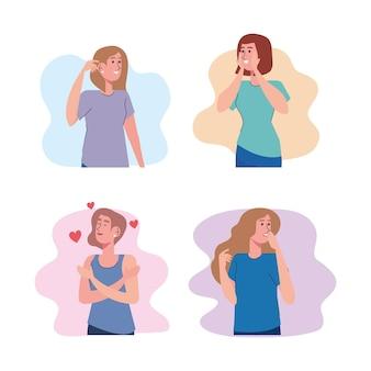 Pacote de quatro belas garotas com design de ilustração de personagens