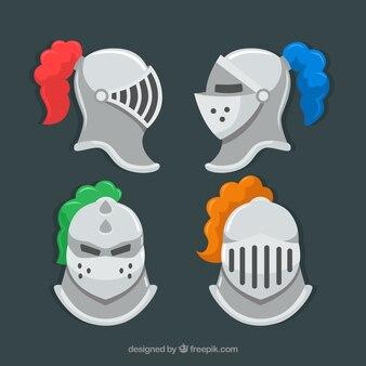 Pacote de quatro capacetes de armadura em forma plana