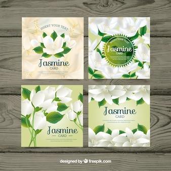 Pacote de quatro cartões de jasmim realistas