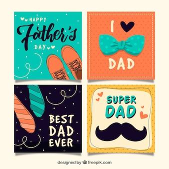 Pacote de quatro cartões do dia do pai com elementos decorativos