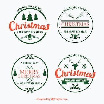 Pacote de quatro etiquetas redondas de natal