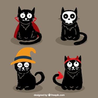 Pacote de quatro gatos pretos desenhados a mão