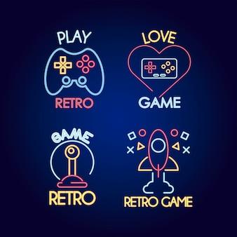 Pacote de quatro ícones de estilo neon de videogame e ilustração de inscrições