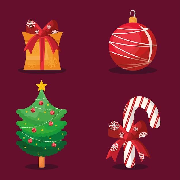 Pacote de quatro ícones de feliz natal feliz