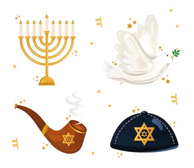 Pacote de quatro ícones do conjunto de hanukkah.