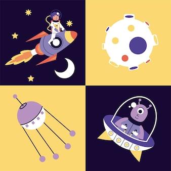 Pacote de quatro ilustração de ícones de conjunto de espaço