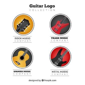 Pacote de quatro logotipos de guitarra em design realista