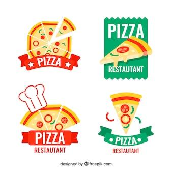 Pacote de quatro logotipos de pizza