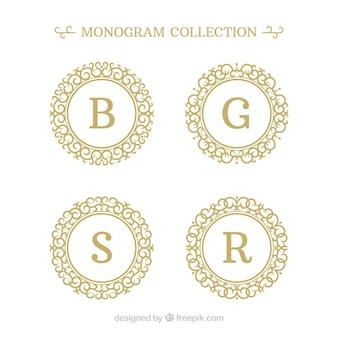 Pacote de quatro monogramas de ouro