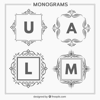 Pacote de quatro monogramas elegantes desenhados a mão