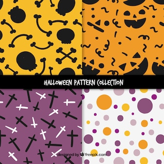 Pacote de quatro padrões com elementos e círculos de halloween
