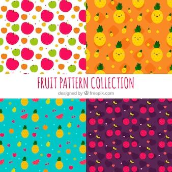 Pacote de quatro padrões de frutas em design plano