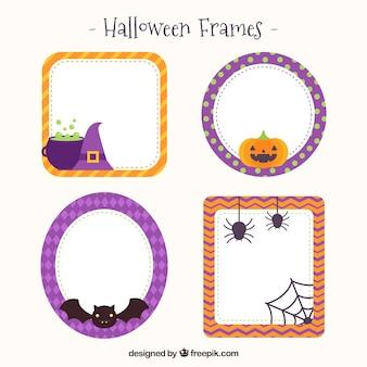 Pacote de quatro quadros de halloween em design plano