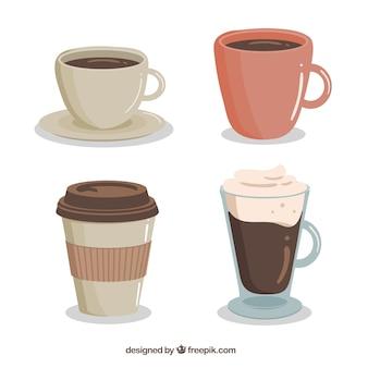 Pacote de quatro xícaras de café desenhado a mão