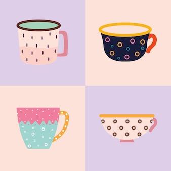 Pacote de quatro xícaras de chá e café