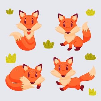 Pacote de raposa desenhada de mão