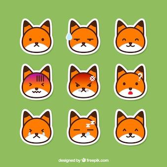 Pacote de raposa emoticon adesivos