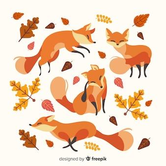 Pacote de raposas de mão desenhada