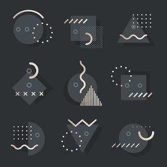 Pacote de recursos de design de memphis em tom escuro