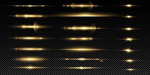 Pacote de reflexos de lente horizontal amarela. feixes de laser, raios de luz horizontais. conjunto de efeitos de luz transparente de brilho, explosão, brilho, faísca, erupção solar.