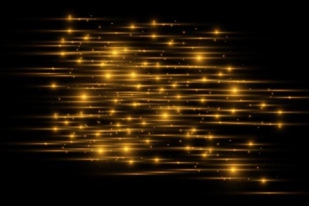Pacote de reflexos de lente horizontal amarela. feixes de laser, raios de luz horizontais. luzes bonitas. listras brilhantes em fundo escuro. fundo forrado cintilante abstrato luminoso.