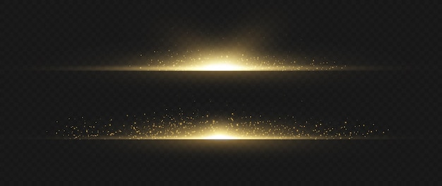 Pacote de reflexos de lente horizontal amarela. feixes de laser, raios de luz horizontais. luzes lindas. listras brilhantes em fundo escuro. fundo forrado cintilante abstrato luminoso.