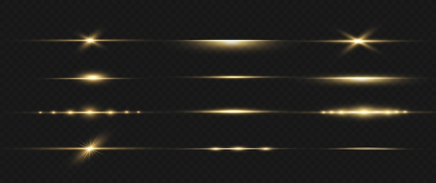 Pacote de reflexos de lente horizontal amarela. feixes de laser, raios de luz horizontais. luzes lindas.